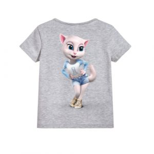 Grey Angela in Blue Kid's Printed T Shirt