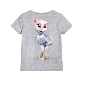 Grey Angela in Blue Kid's Printed T Shirt