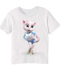 White Angela in Blue Kid's Printed T Shirt
