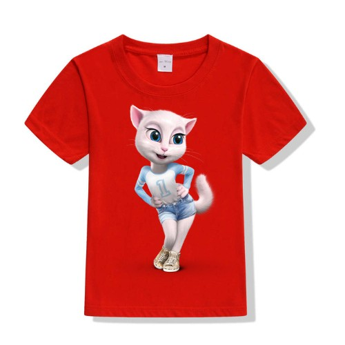 Red Angela in Blue Kid's Printed T Shirt