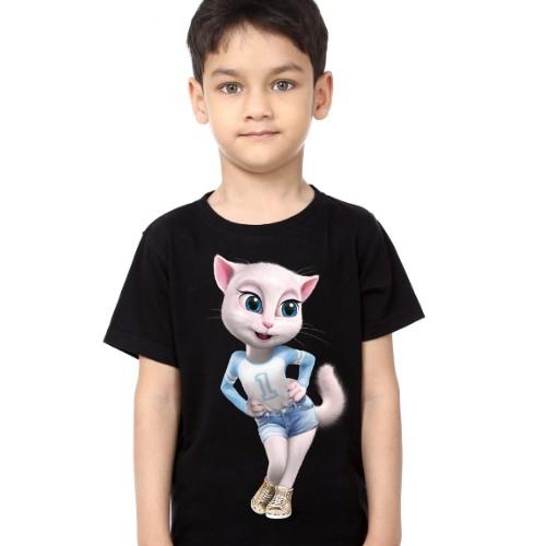 Black Boy Angela in Blue Kid's Printed T Shirt