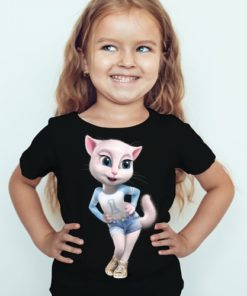 Black Girl Angela in Blue Kid's Printed T Shirt