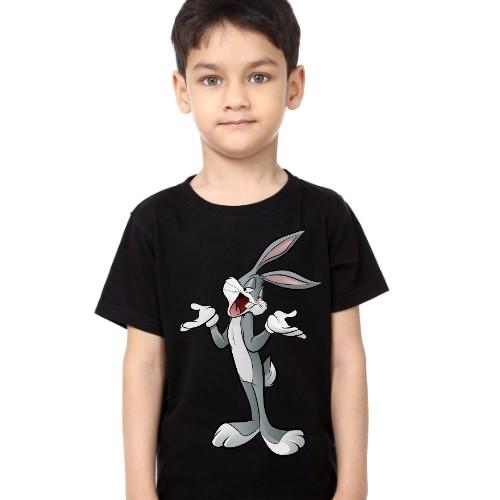 Black Boy So What Rabbit Kid's Printed T Shirt