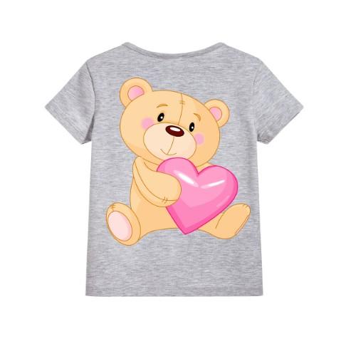 Grey Teddy hug pink heart Kid's Printed T Shirt
