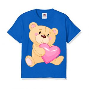 Blue Teddy hug pink heart Kid's Printed T Shirt