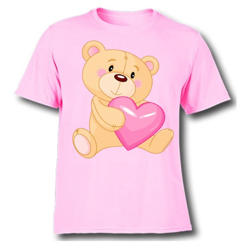 Pink Teddy hug pink heart Kid's Printed T Shirt