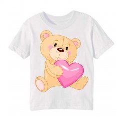 White Teddy hug pink heart Kid's Printed T Shirt