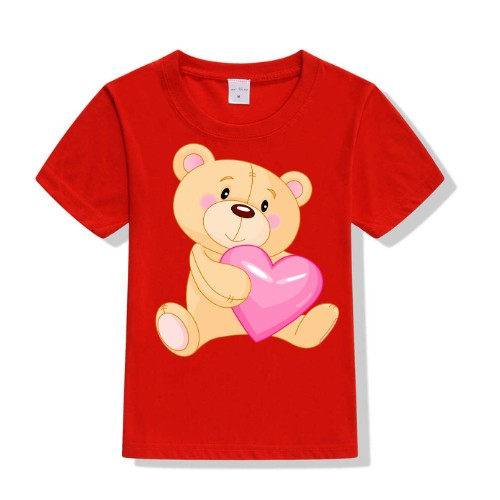 Red Teddy hug pink heart Kid's Printed T Shirt