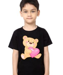Black Boy Teddy hug pink heart Kid's Printed T Shirt