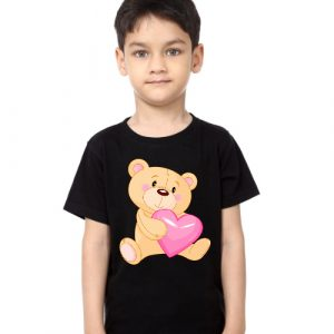 Black Boy Teddy hug pink heart Kid's Printed T Shirt