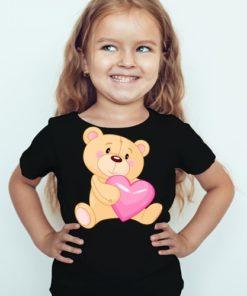 Black Girl Teddy hug pink heart Kid's Printed T Shirt