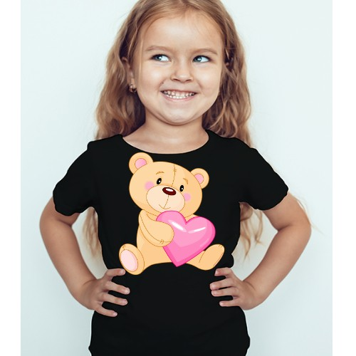 Black Girl Teddy hug pink heart Kid's Printed T Shirt