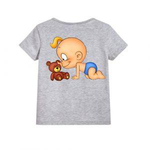 Grey baby with kid Kid's Printed T Shirt
