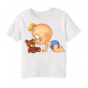 Printe5 White baby with kid Printed Kid's T Shirt