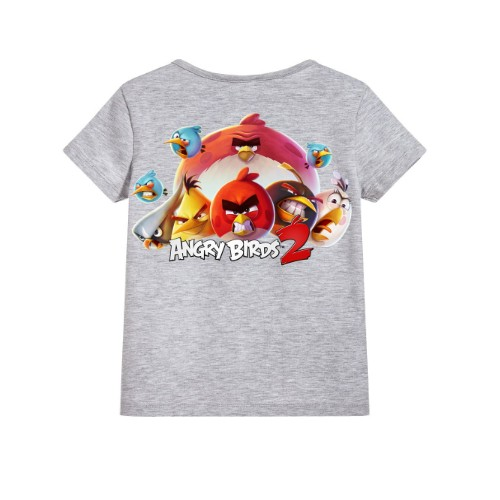 Grey angry bird version 2 Kid's Printed T Shirt