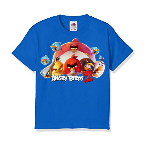 Blue angry bird version 2 Kid's Printed T Shirt