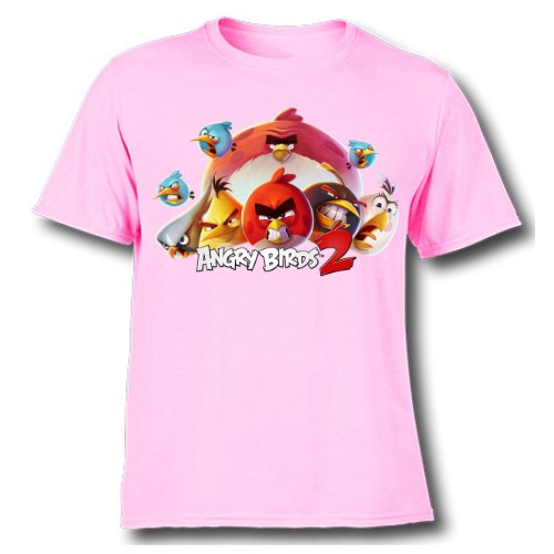 Pink angry bird version 2 Kid's Printed T Shirt