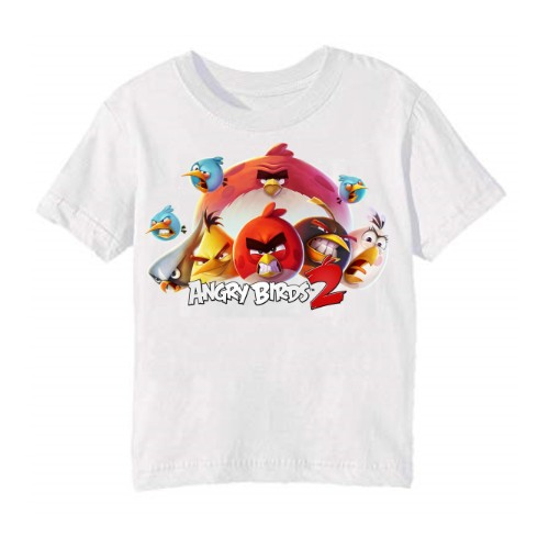 White angry bird version 2 Kid's Printed T Shirt