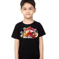 Black Boy angry bird version 2 Kid's Printed T Shirt
