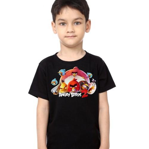 Black Boy angry bird version 2 Kid's Printed T Shirt