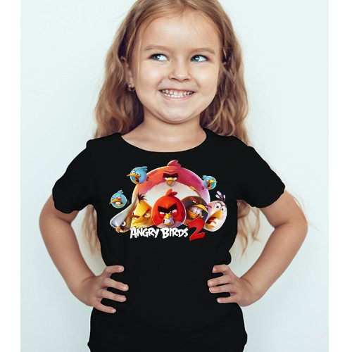 Black Girl angry bird version 2 Kid's Printed T Shirt
