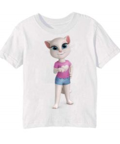 White talking angela in blue jean Kid's Printed T Shirt