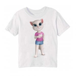 White talking angela in blue jean Kid's Printed T Shirt