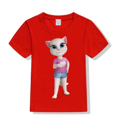 Red talking angela in blue jean Kid's Printed T Shirt