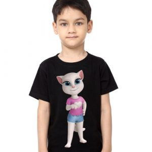 Black Boy talking angela in blue jean Kid's Printed T Shirt