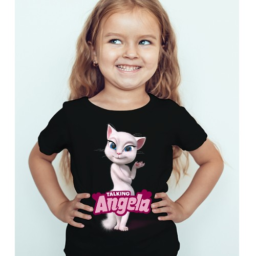 Black Girl Fairy white talking angela Kid's Printed T Shirt