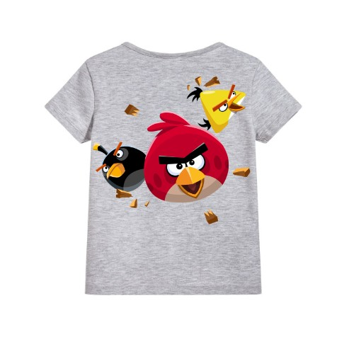 Grey Flying Angry Birds Kid's Printed T Shirt