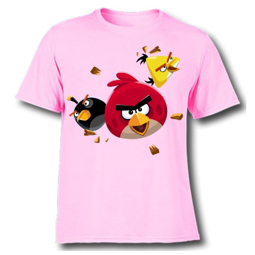 Pink Flying Angry Birds Kid's Printed T Shirt