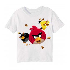 White Flying Angry Birds Kid's Printed T Shirt