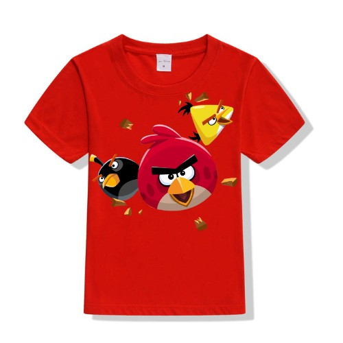 Red Flying Angry Birds Kid's Printed T Shirt