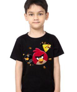 Black Boy Flying Angry Birds Kid's Printed T Shirt