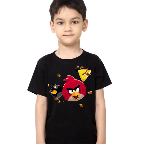Black Boy Flying Angry Birds Kid's Printed T Shirt