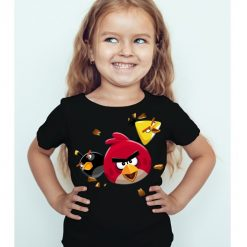 Black Girl Flying Angry Birds Kid's Printed T Shirt