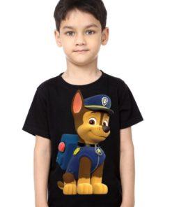 Black Boy Paw Patrol Dog Kid's Printed T Shirt