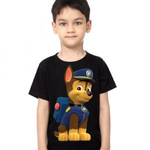 Black Boy Paw Patrol Dog Kid's Printed T Shirt