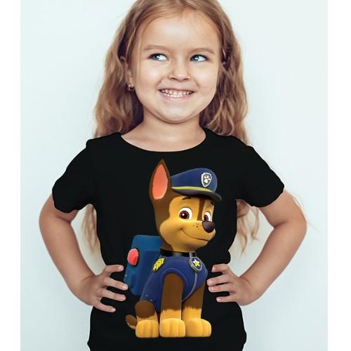 Black Girl Paw Patrol Dog Kid's Printed T Shirt