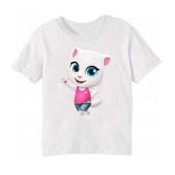 White baby talking angela Kid's Printed T Shirt