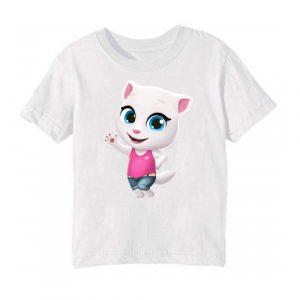 Printe5 White baby talking angela Printed Kid's T Shirt