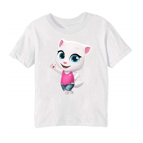 White baby talking angela Kid's Printed T Shirt