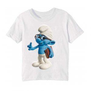 Printe5 White Blue Gasper Printed Kid's T Shirt
