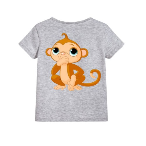 Grey Monkey Kid's Printed T Shirt