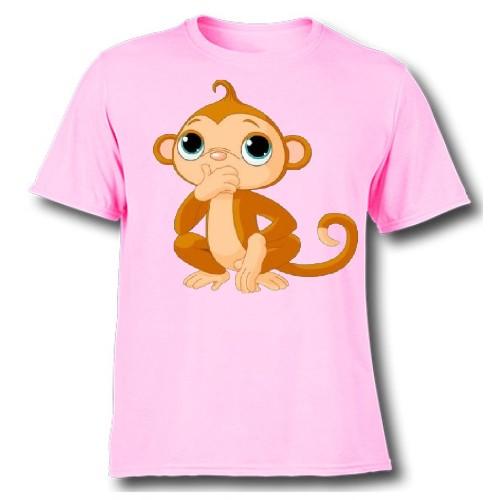 Pink Monkey Kid's Printed T Shirt