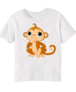 White Monkey Kid's Printed T Shirt