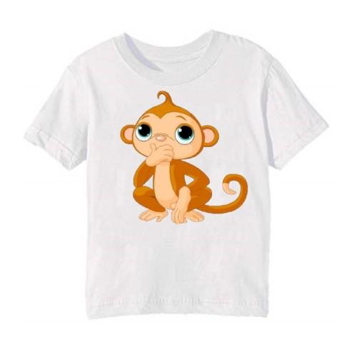 White Monkey Kid's Printed T Shirt