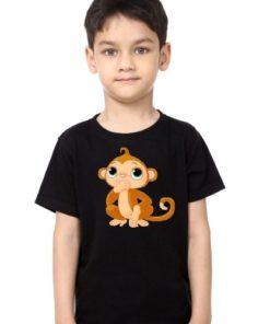 Black Boy Monkey Kid's Printed T Shirt