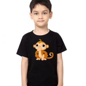 Black Boy Monkey Kid's Printed T Shirt